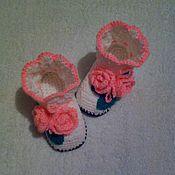 Обувь ручной работы. Ярмарка Мастеров - ручная работа пинетки-сапожки. Handmade.