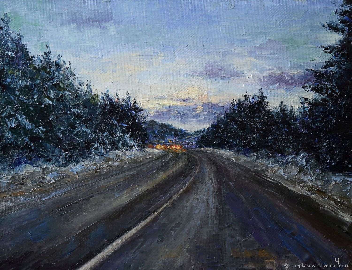 road in the evening painting