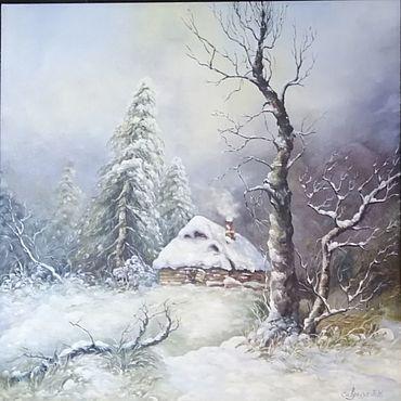 Картины и панно ручной работы. Ярмарка Мастеров - ручная работа Картины: Домик в зимнем лесу. Handmade.