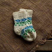 Аксессуары handmade. Livemaster - original item The baby socks white wool with a turquoise ornament. Handmade.