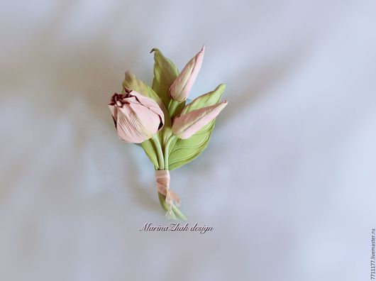"""Цветы ручной работы. Ярмарка Мастеров - ручная работа. Купить Букетик тюльпанов из кожи - по мотивам работы""""Мартовский ангел"""". Handmade."""