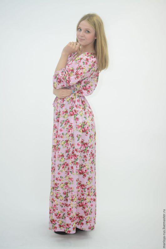 """Платья ручной работы. Ярмарка Мастеров - ручная работа. Купить Платье """"Крестьянка"""". Handmade. Розовый, платье в пол, штапель"""