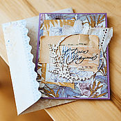 Открытки ручной работы. Ярмарка Мастеров - ручная работа Открытка на день рождения ручной работы в конверте. Handmade.