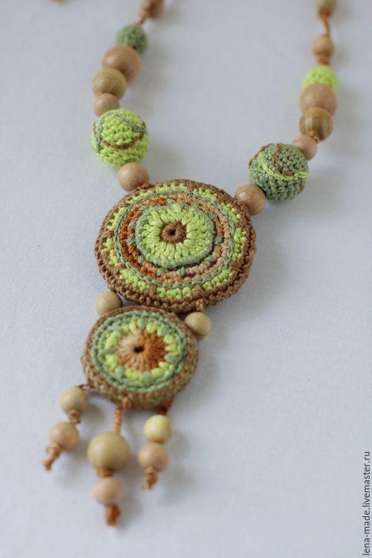Вязаная этника. Стильное вязаное колье (вязаные бусы) в бохо-этно стиле.