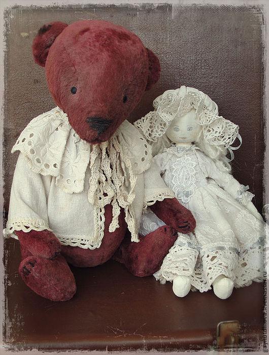 Мишки Тедди ручной работы. Ярмарка Мастеров - ручная работа. Купить Тедди в винтажном стиле. Handmade. Бордовый, тедди медведи