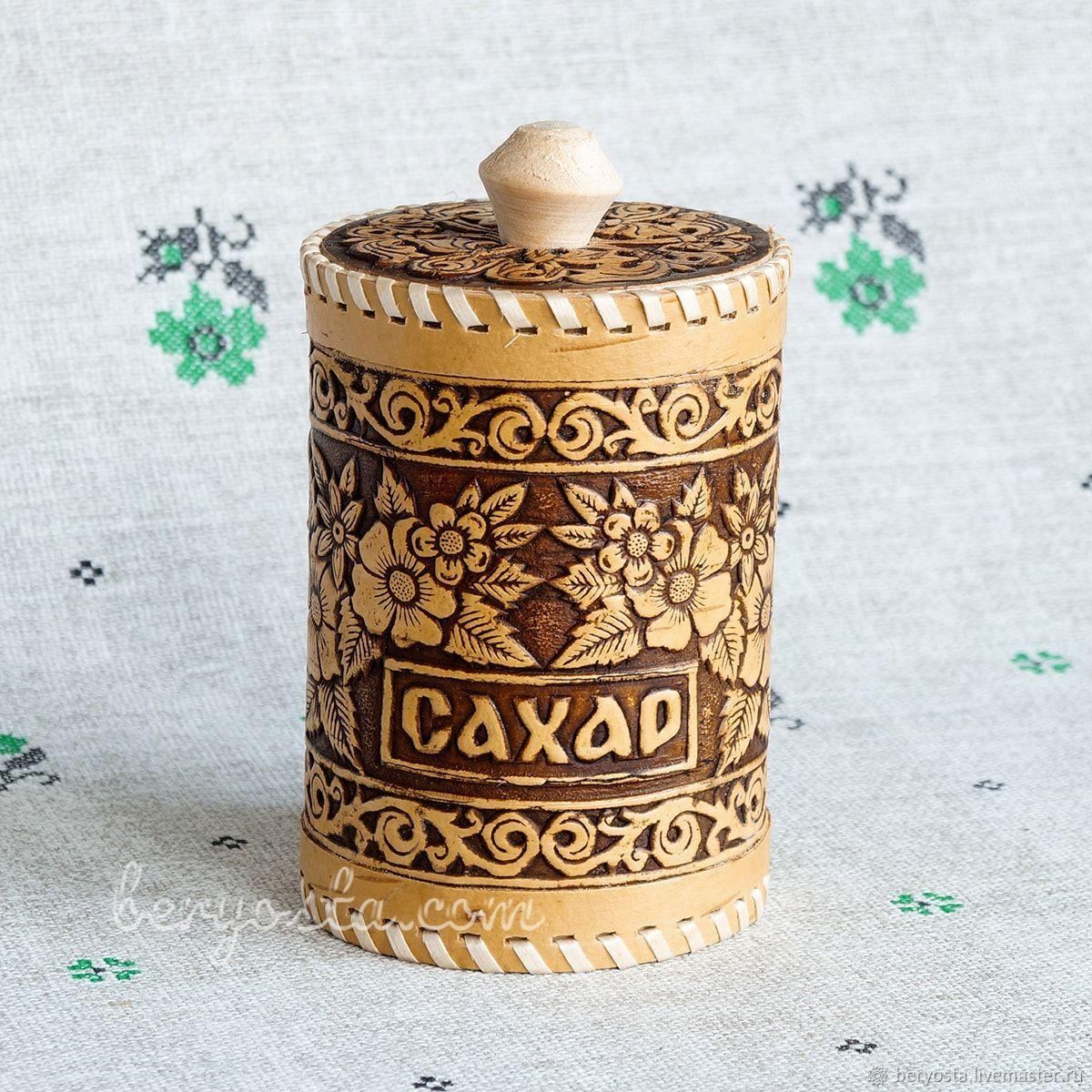 Tuesok of birch sugar 'Flowers' 8h12. Birch bark basket Gift mom, Ware in the Russian style, Novosibirsk,  Фото №1