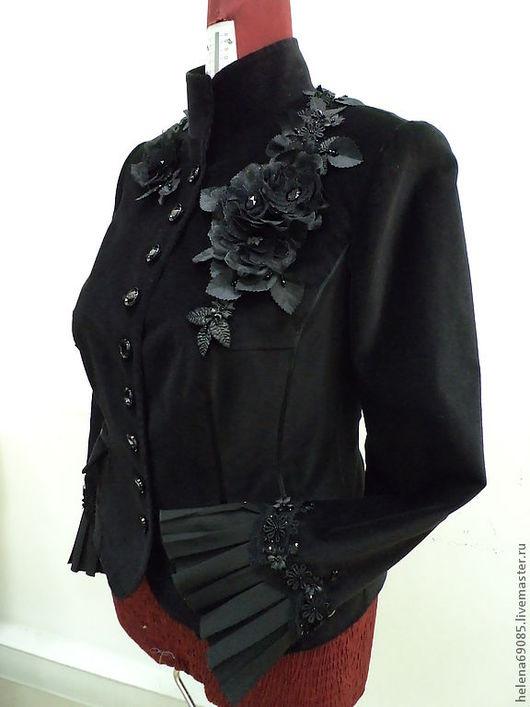 Пиджаки, жакеты ручной работы. Ярмарка Мастеров - ручная работа. Купить Пиджак из бархата. Handmade. Черный, стразы, вечерняя одежда