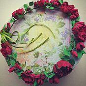 """Комплекты украшений ручной работы. Ярмарка Мастеров - ручная работа венок и браслет """"Бордовые английские розы"""" комплект. Handmade."""