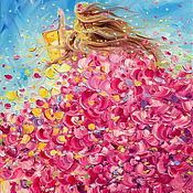 Картины и панно handmade. Livemaster - original item oil painting on canvas with stretcher. Sunny summer. Roses.. Handmade.