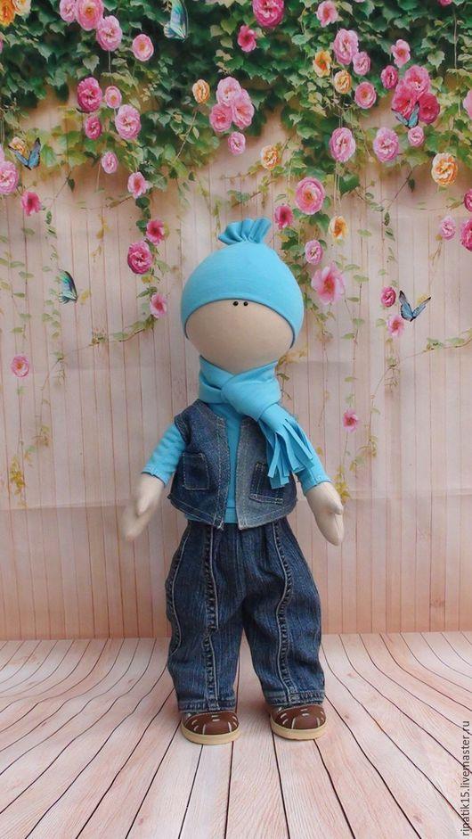 Человечки ручной работы. Ярмарка Мастеров - ручная работа. Купить Кукла 50 см.. Handmade. Синий, джинсовый, кукла текстильная
