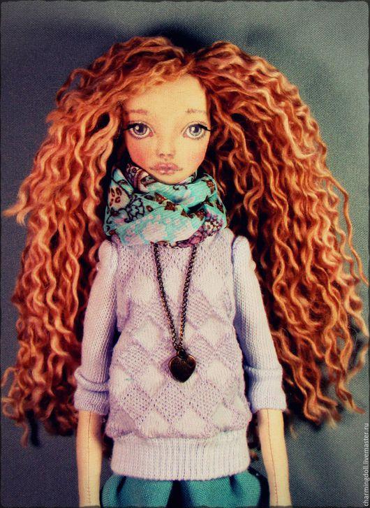 Человечки ручной работы. Ярмарка Мастеров - ручная работа. Купить Авторская текстильная кукла. Handmade. Сиреневый, ручная работа, синтепон