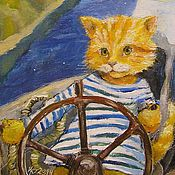Сувениры и подарки handmade. Livemaster - original item The author Morakot Print 15х20 Red cat sailor. Handmade.