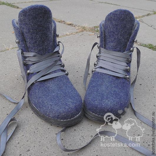 """Обувь ручной работы. Ярмарка Мастеров - ручная работа. Купить Ботинки войлочные женские """"Евгения"""" синий серый валенки шерсть. Handmade."""