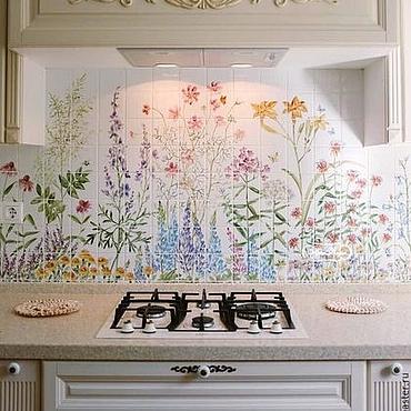 Diseño y publicidad manualidades. Livemaster - hecho a mano Painted tile Apron for kitchen My garden. Handmade.