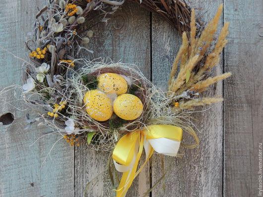 Подарки на Пасху ручной работы. Ярмарка Мастеров - ручная работа. Купить пасхальный венок весна и пасха в жёлтых тонах. Handmade.