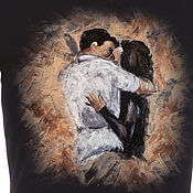 Одежда handmade. Livemaster - original item t-shirt with hand-painted lovers. Handmade.