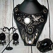 Украшения handmade. Livemaster - original item Jewelry set Necklace Earrings Bracelet black