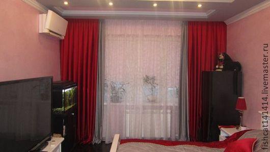 Текстиль, ковры ручной работы. Ярмарка Мастеров - ручная работа. Купить Шторы и покрывало из красного атласа. Handmade. Ярко-красный