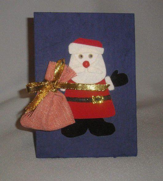 Открытки к Новому году ручной работы. Ярмарка Мастеров - ручная работа. Купить Дед Мороз. Handmade. Бумага бархатная, краски