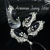 Украшения handmade. Livemaster - original item Medea jewelry set with black obsidian made of silver (VIDEO) AN0003. Handmade.