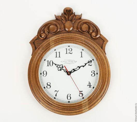 Часы для дома ручной работы. Ярмарка Мастеров - ручная работа. Купить Настенные часы из дуба с резьбой. Handmade. Часы настенные