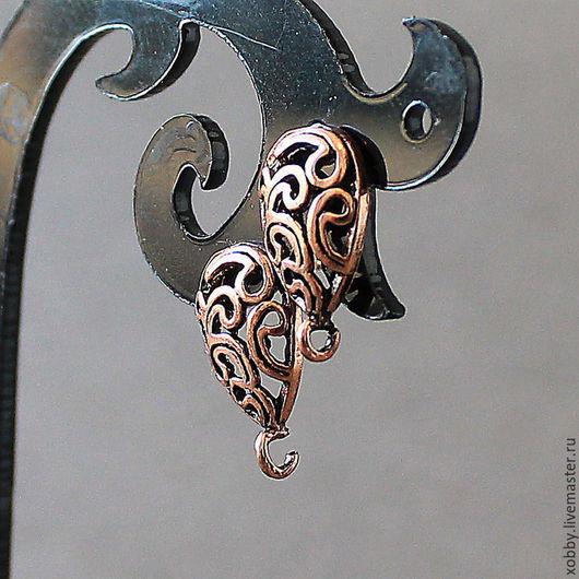 Основа для сережек гвоздиков пуссеты  Основа для гвоздиков Завитушки выполнены из  латуни, с покрытием цвета медь Используется для создания ваших неповторимых сережек