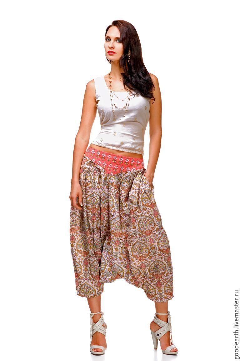Этническая одежда ручной работы. Ярмарка Мастеров - ручная работа. Купить Юбка-брюки из хлопка Джая. Handmade. Брюки