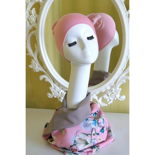 Шали, палантины ручной работы. Ярмарка Мастеров - ручная работа. Купить Двусторонний снуд из джерси и крепа в нежно-розовой гамме. Handmade.