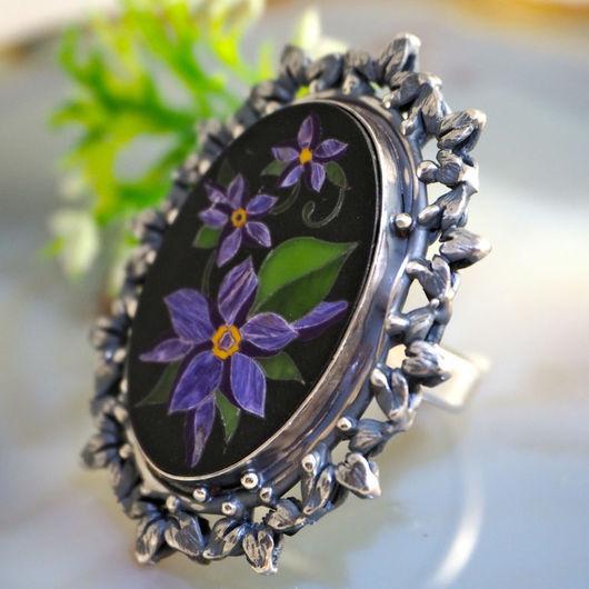 """Кольца ручной работы. Ярмарка Мастеров - ручная работа. Купить Кольцо """"Вечер в саду"""" - флорентийская мозаика, серебро. Handmade. цветок"""