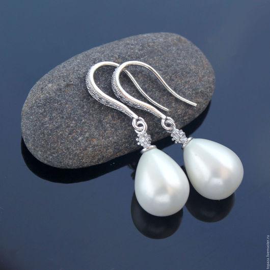 Серебряные серьги свадебные с жемчугом нежные_Афина_серебро 925