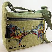 Сумки и аксессуары handmade. Livemaster - original item Canvas bag bag with embroidery Khaki bag Fabric bag City. Handmade.