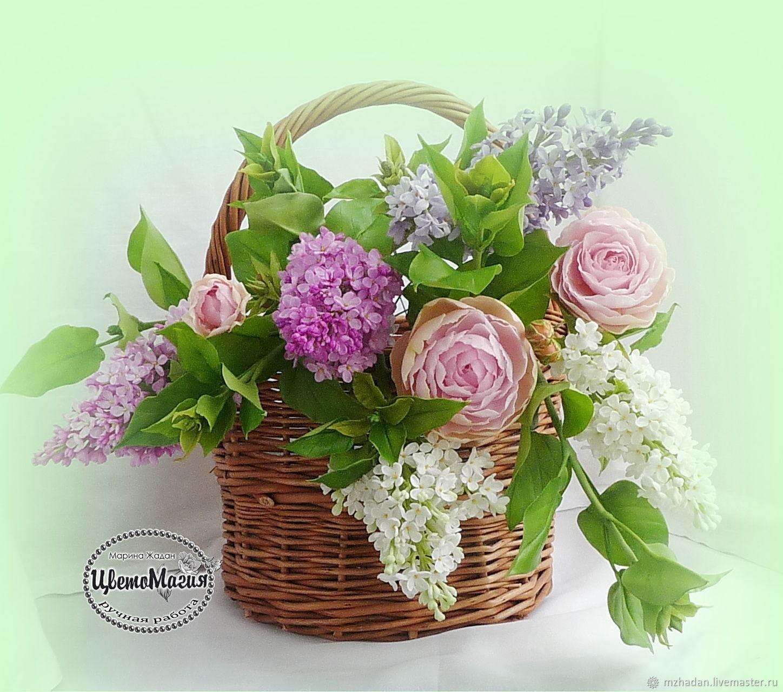 Букет  цветов в корзине из полимерной глины, Цветы, Орел, Фото №1
