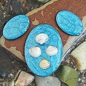 Материалы для творчества handmade. Livemaster - original item A set of three cabochons. Color - turquoise. Shape - oval. Handmade.