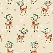 Материалы для творчества ручной работы. Ярмарка Мастеров - ручная работа Ткань Traditional Metallic Christmas Reindeer Scatter Multi Makower UK. Handmade.