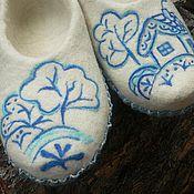 """Обувь ручной работы. Ярмарка Мастеров - ручная работа Валяные тапочки """" Гжель"""". Handmade."""