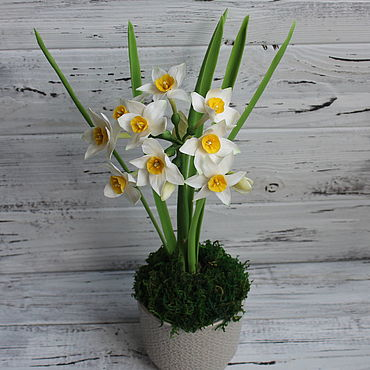 Цветы и флористика ручной работы. Ярмарка Мастеров - ручная работа Нарцисс мультицветковый из холодного фарфора. Handmade.
