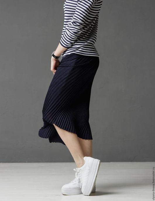 Юбки ручной работы. Ярмарка Мастеров - ручная работа. Купить Юбка 1603V02. Handmade. Тёмно-синий, дизайнерская юбка