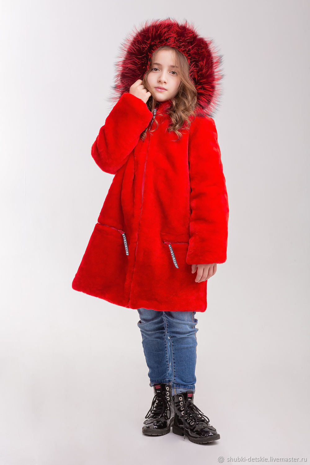 055386a490aa Buy The red fur coat of Mouton · Clothes for Girls handmade. The red fur  coat of Mouton. Kids fur coat.