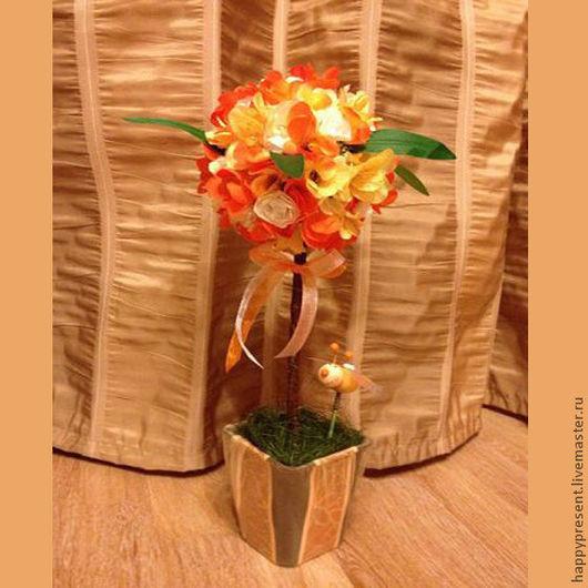 Топиарии ручной работы. Ярмарка Мастеров - ручная работа. Купить Топиарий оранжевый. Handmade. Оранжевый, топиарий, Дерево счастья