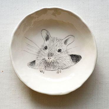 Посуда ручной работы. Ярмарка Мастеров - ручная работа Тарелка Мышка. Handmade.