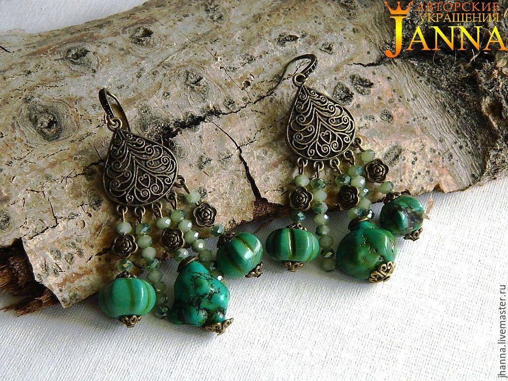 turquoise. ' Firuza' earrings with Mongolian turquoise, Earrings, Volgograd,  Фото №1