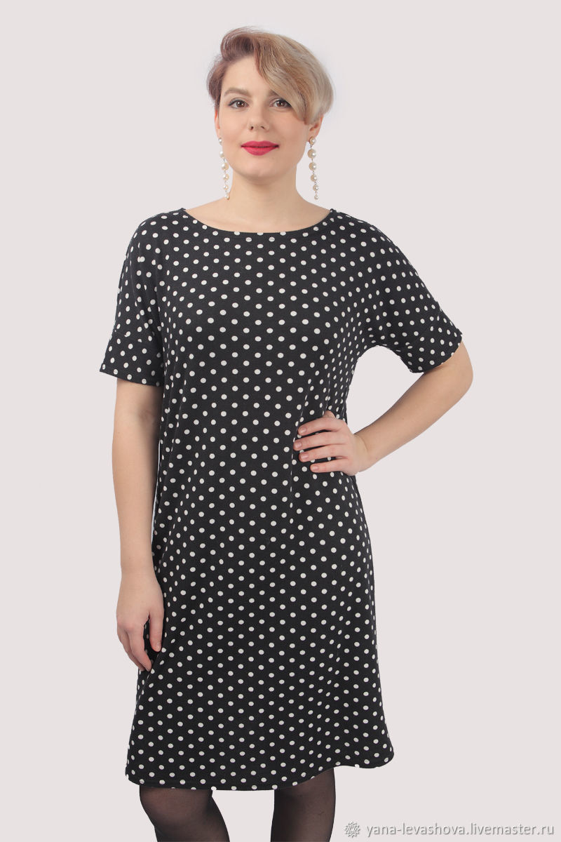 Dress classic straight knitted black with white polka dots, Dresses, Moscow,  Фото №1