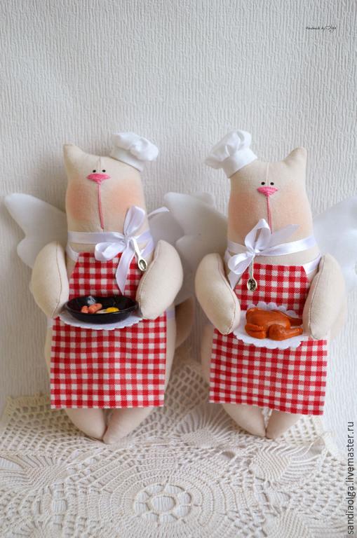 Куклы Тильды ручной работы. Ярмарка Мастеров - ручная работа. Купить Котята поварята. Handmade. Ярко-красный, кот, коты