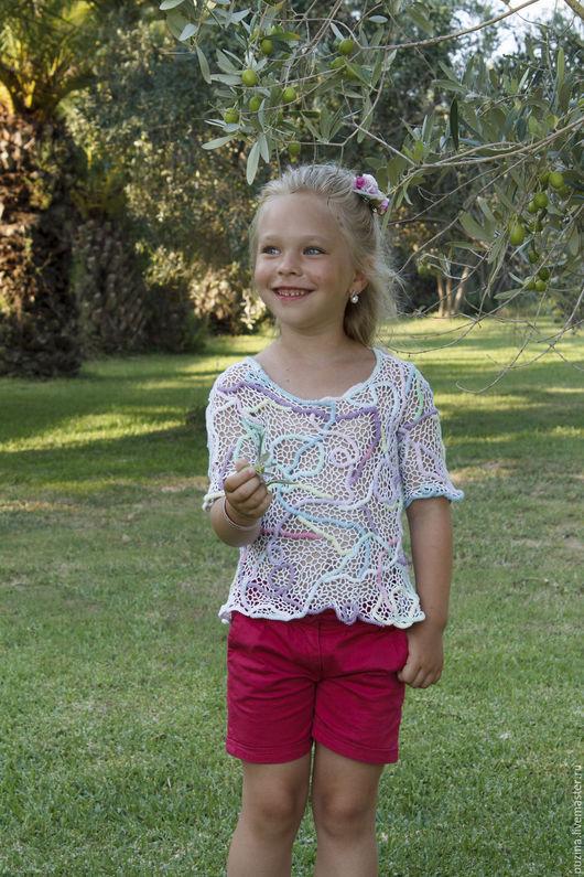 Одежда для девочек, ручной работы. Ярмарка Мастеров - ручная работа. Купить Туника Сахарная вата. Handmade. Разноцветный, туника вязаная