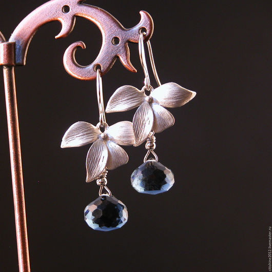 """Серьги ручной работы. Ярмарка Мастеров - ручная работа. Купить Серьги """" Орхидеи и топазы"""". Handmade. Длинные серьги, серебряный"""