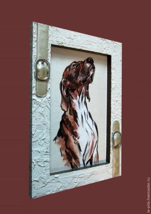 """Животные ручной работы. Ярмарка Мастеров - ручная работа. Купить Картина (PAINTING) """"ДРУГ"""". Handmade. Картина, холст, собака, дерево"""