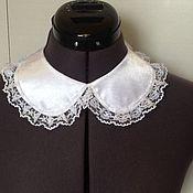 Аксессуары handmade. Livemaster - original item Removable collar, Universal/satin lace white. Handmade.