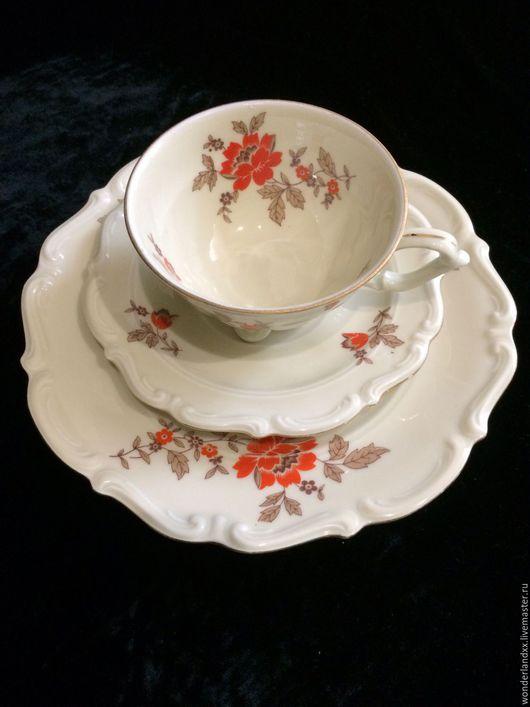 Винтажная посуда. Ярмарка Мастеров - ручная работа. Купить Изящная чайная тройка, Германия. Handmade. Комбинированный, фарфор