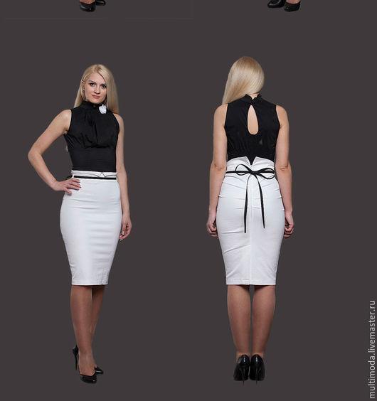 Юбки ручной работы. Ярмарка Мастеров - ручная работа. Купить Белая офисная юбка с черным пояском. Handmade. Белый