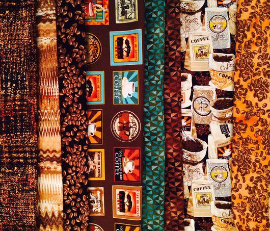 """Шитье ручной работы. Ярмарка Мастеров - ручная работа. Купить (8шт.) Ткань """"Кофе -Сафари"""". Американский хлопок.. Handmade."""